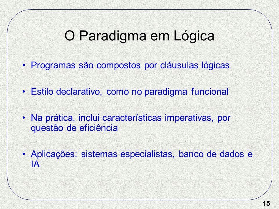 15 O Paradigma em Lógica Programas são compostos por cláusulas lógicas Estilo declarativo, como no paradigma funcional Na prática, inclui característi