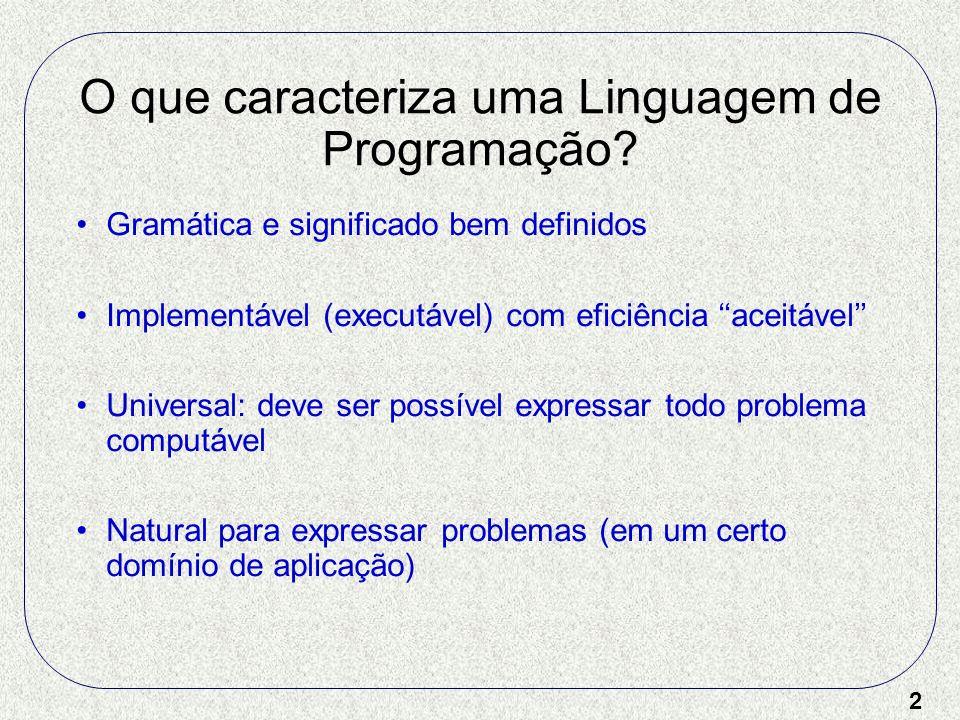 2 O que caracteriza uma Linguagem de Programação? Gramática e significado bem definidos Implementável (executável) com eficiência aceitável Universal: