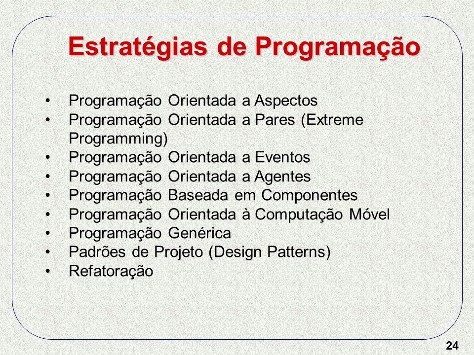 24 Programação Orientada a Aspectos Programação Orientada a Pares (Extreme Programming) Programação Orientada a Eventos Programação Orientada a Agente