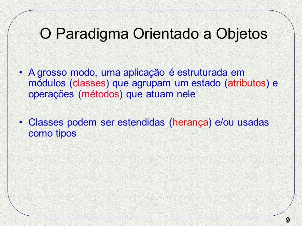 9 O Paradigma Orientado a Objetos A grosso modo, uma aplicação é estruturada em módulos (classes) que agrupam um estado (atributos) e operações (métod