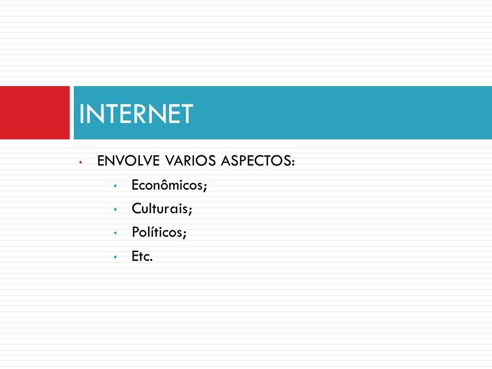 ENVOLVE VARIOS ASPECTOS: Econômicos; Culturais; Políticos; Etc. INTERNET