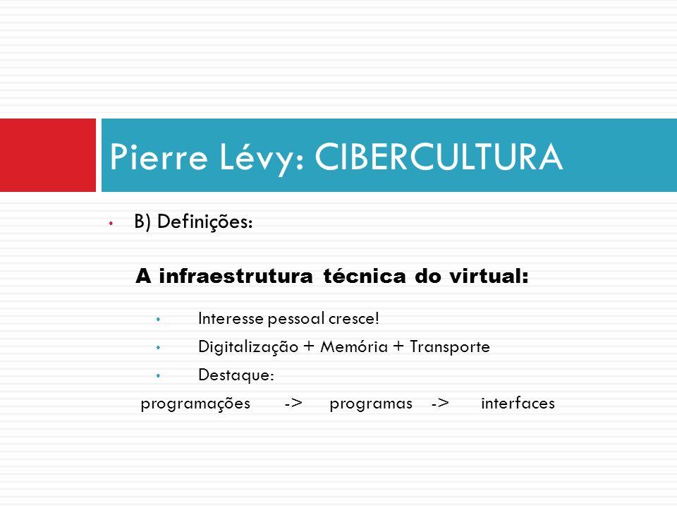 B) Definições: A infraestrutura técnica do virtual: Interesse pessoal cresce! Digitalização + Memória + Transporte Destaque: programações -> programas