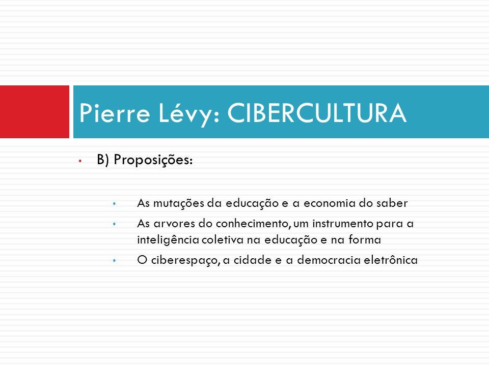B) Proposições: As mutações da educação e a economia do saber As arvores do conhecimento, um instrumento para a inteligência coletiva na educação e na