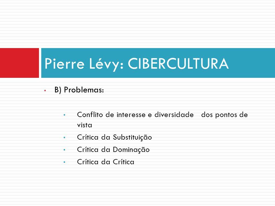 B) Problemas: Conflito de interesse e diversidade dos pontos de vista Crítica da Substituição Crítica da Dominação Crítica da Crítica Pierre Lévy: CIB