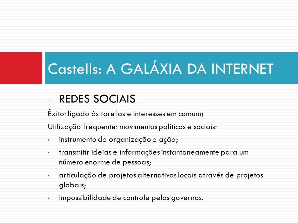 - REDES SOCIAIS Êxito: ligado às tarefas e interesses em comum; Utilização frequente: movimentos políticos e sociais: instrumento de organização e açã