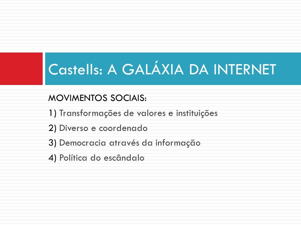 MOVIMENTOS SOCIAIS: 1) Transformações de valores e instituições 2) Diverso e coordenado 3) Democracia através da informação 4) Política do escândalo C