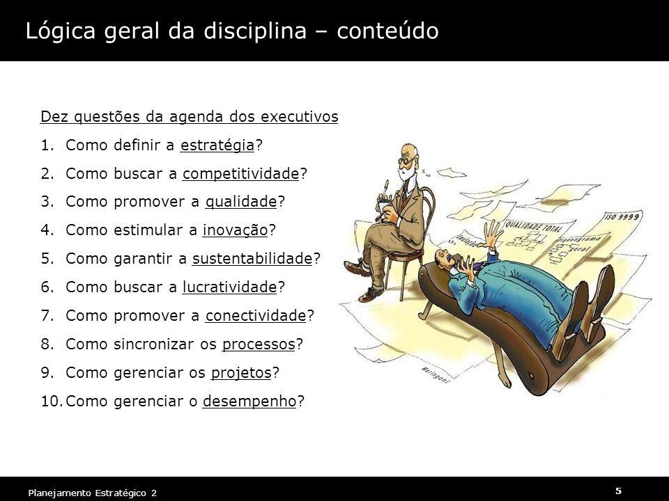 Planejamento Estratégico 2 5 Lógica geral da disciplina – conteúdo Dez questões da agenda dos executivos 1.Como definir a estratégia? 2.Como buscar a