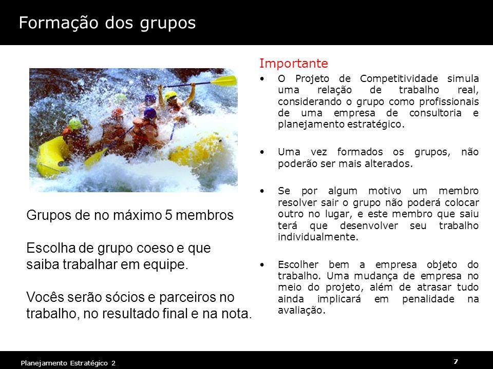 Planejamento Estratégico 2 7 Formação dos grupos Importante O Projeto de Competitividade simula uma relação de trabalho real, considerando o grupo como profissionais de uma empresa de consultoria e planejamento estratégico.