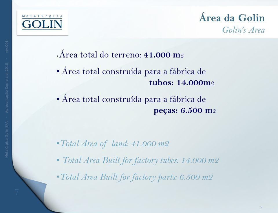 Área da Golin Golins Area Área total do terreno: 41.000 m 2 Área total construída para a fábrica de tubos: 14.000m 2 Área total construída para a fábr