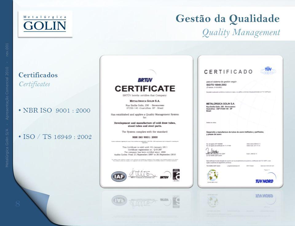 Gestão da Qualidade Quality Management Certificados Certificates NBR ISO 9001 : 2000 ISO / TS 16949 : 2002 8