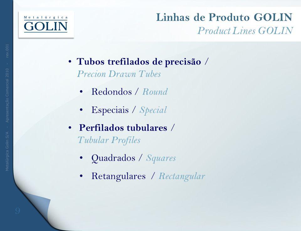 Tubos trefilados de precisão / Precion Drawn Tubes Redondos / Round Especiais / Special Perfilados tubulares / Tubular Profiles Quadrados / Squares Re