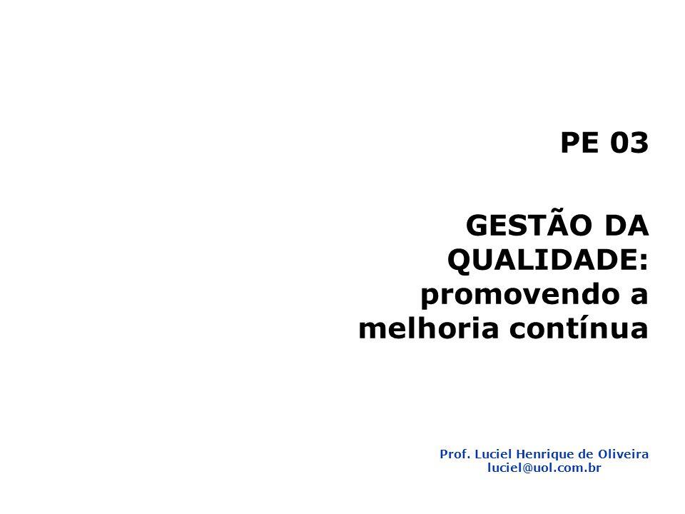 1 Planejamento Estratégico 2 PE 03 GESTÃO DA QUALIDADE: promovendo a melhoria contínua Prof. Luciel Henrique de Oliveira luciel@uol.com.br