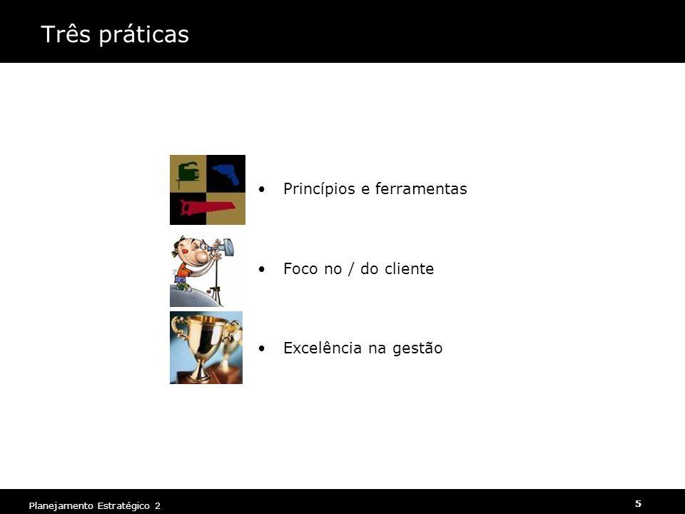5 Planejamento Estratégico 2 Três práticas Princípios e ferramentas Foco no / do cliente Excelência na gestão