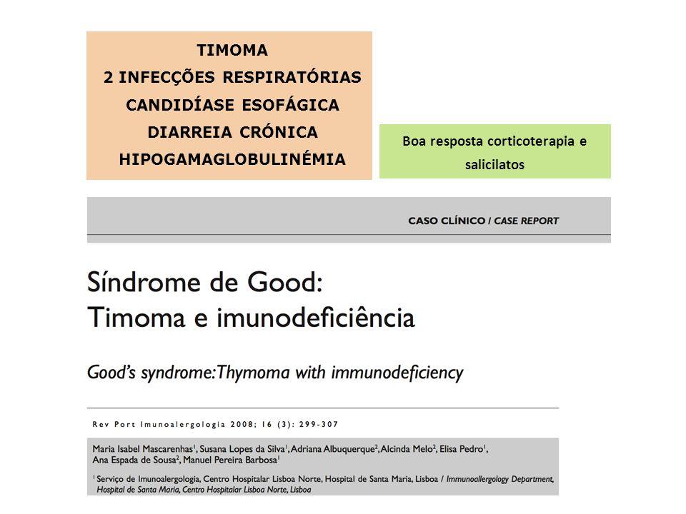 TIMOMA 2 INFECÇÕES RESPIRATÓRIAS CANDIDÍASE ESOFÁGICA DIARREIA CRÓNICA HIPOGAMAGLOBULINÉMIA Boa resposta corticoterapia e salicilatos