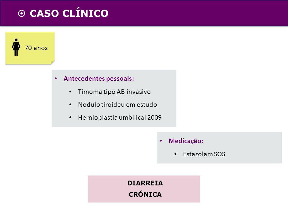 CASO CLÍNICO 70 anos Antecedentes pessoais: Timoma tipo AB invasivo Nódulo tiroideu em estudo Hernioplastia umbilical 2009 Medicação: Estazolam SOS DI