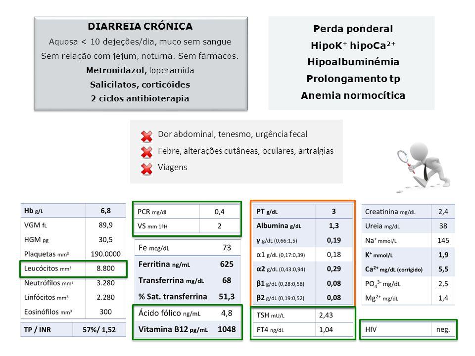 Perda ponderal HipoK + hipoCa 2+ Hipoalbuminémia Prolongamento tp Anemia normocítica DIARREIA CRÓNICA Aquosa < 10 dejeções/dia, muco sem sangue Sem re