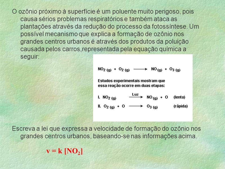 Alguns Exemplos H 2(g) + Cl 2(g) 2HCl (g) V = K.[H 2 ].[Cl 2 ] _____________________________________ 3H 2(g) + N 2(g) 2 NH 3(g) V = K.[H 2 ] 3.[N 2 ]