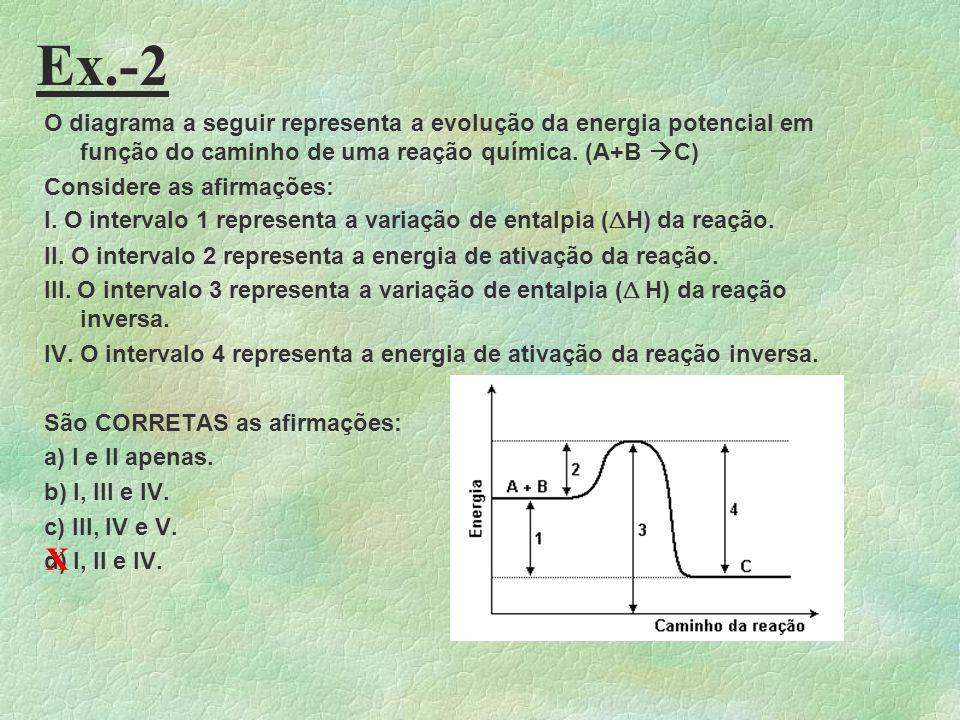Aula-26 - Ex. 1 Para que ocorra uma reação química, é necessário que os reagentes entrem em contato, através de colisões, o que se chama Teoria das Co