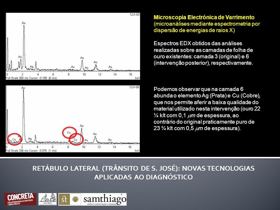 Microscopia Electrónica de Varrimento (microanálises mediante espectrometria por dispersão de energias de raios X) Espectros EDX obtidos das análises