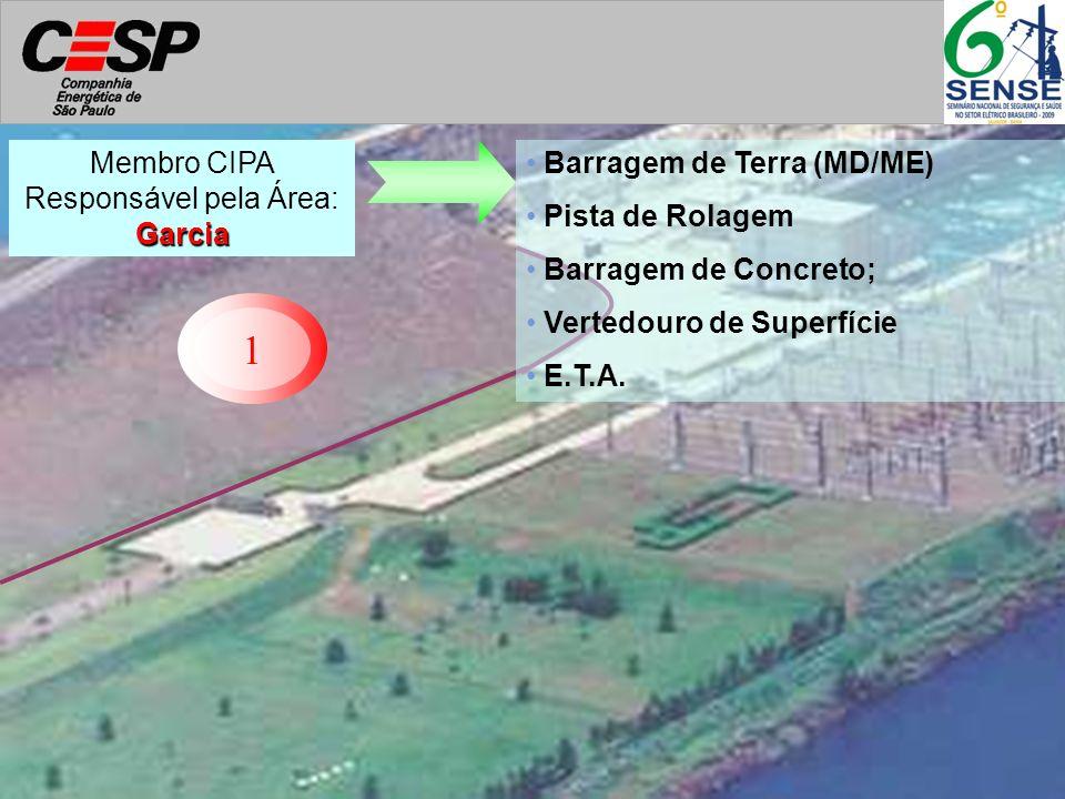 1 Barragem de Terra (MD/ME) Pista de Rolagem Barragem de Concreto; Vertedouro de Superfície E.T.A. Garcia Membro CIPA Responsável pela Área: Garcia