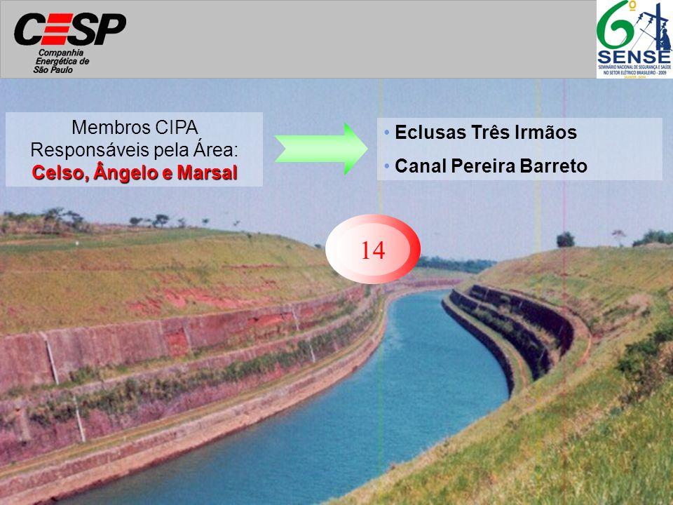 14 Eclusas Três Irmãos Canal Pereira Barreto Celso, Ângelo e Marsal Membros CIPA Responsáveis pela Área: Celso, Ângelo e Marsal