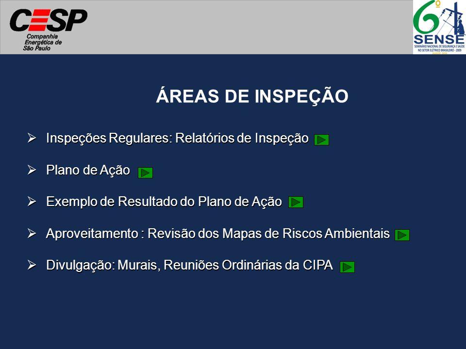 ÁREAS DE INSPEÇÃO Inspeções Regulares: Relatórios de Inspeção Plano de Ação Aproveitamento : Revisão dos Mapas de Riscos Ambientais Divulgação: Murais