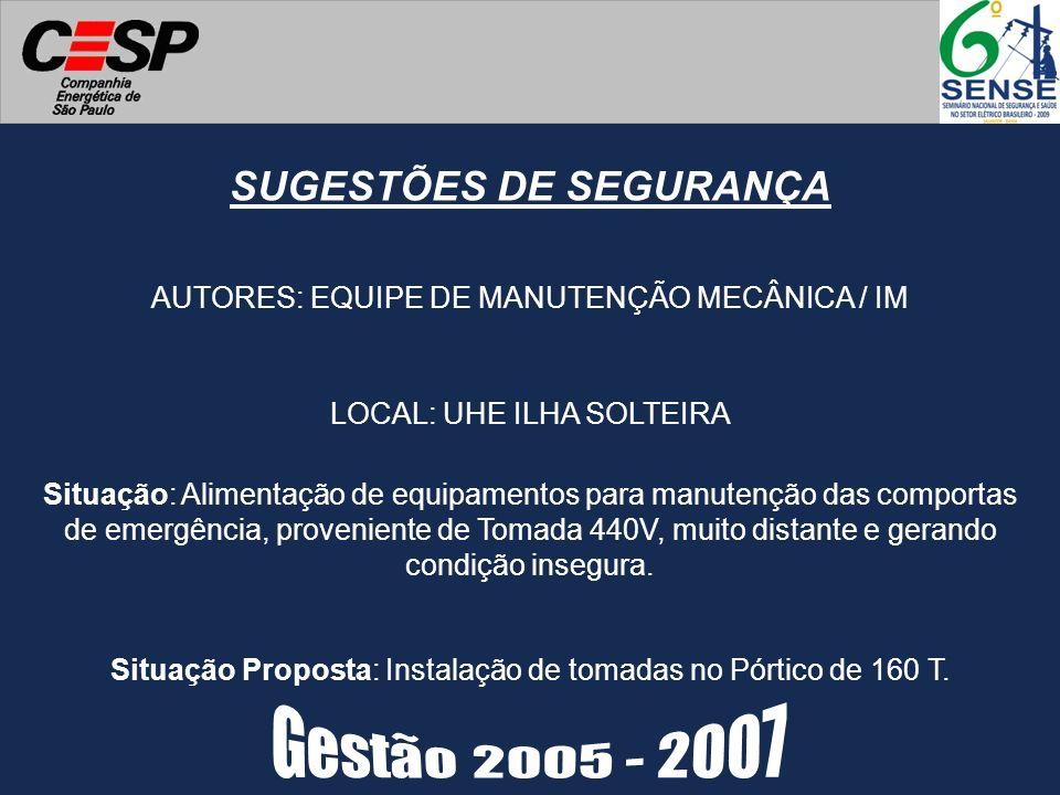 SUGESTÕES DE SEGURANÇA AUTORES: EQUIPE DE MANUTENÇÃO MECÂNICA / IM Situação Proposta: Instalação de tomadas no Pórtico de 160 T. LOCAL: UHE ILHA SOLTE