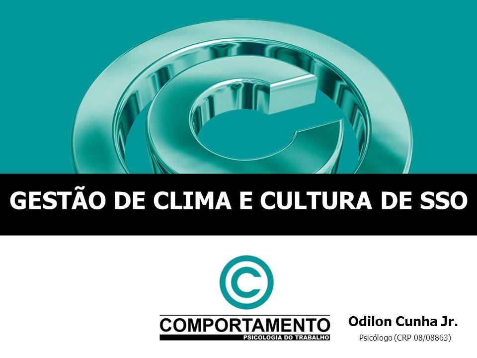 Psicólogo (CRP 08/08863) Odilon Cunha Jr. GESTÃO DE CLIMA E CULTURA DE SSO