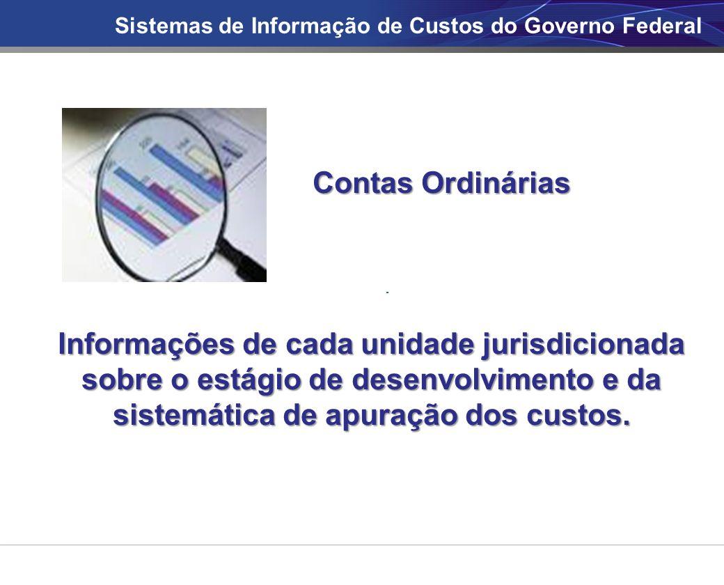 Sistemas de Informação de Custos do Governo Federal Contas Ordinárias Informações de cada unidade jurisdicionada sobre o estágio de desenvolvimento e da sistemática de apuração dos custos.