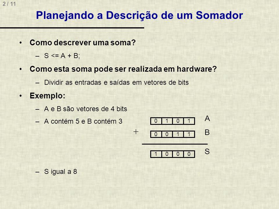 2 / 11 Planejando a Descrição de um Somador Como descrever uma soma? –S <= A + B; Como esta soma pode ser realizada em hardware? –Dividir as entradas