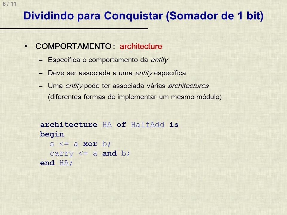 6 / 11 Dividindo para Conquistar (Somador de 1 bit) COMPORTAMENTO : architecture –Especifica o comportamento da entity –Deve ser associada a uma entit
