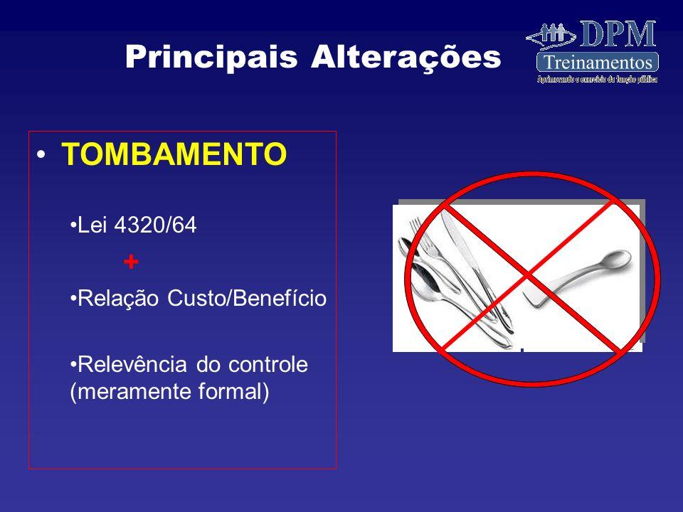 TOMBAMENTO Lei 4320/64 + Relação Custo/Benefício Relevência do controle (meramente formal) Principais Alterações