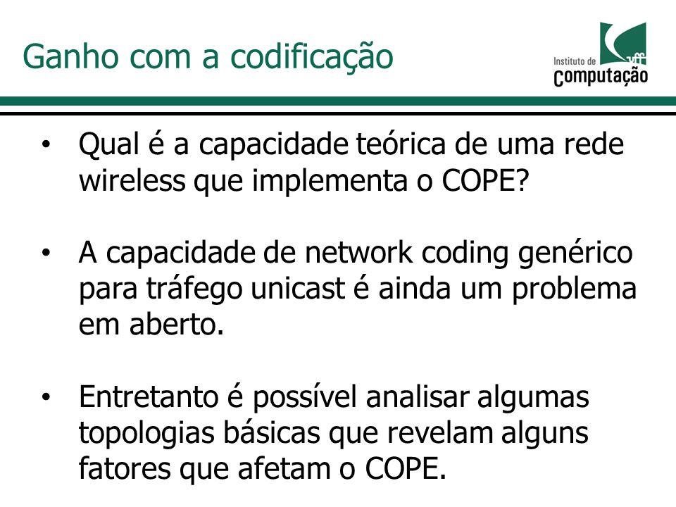 Qual é a capacidade teórica de uma rede wireless que implementa o COPE.