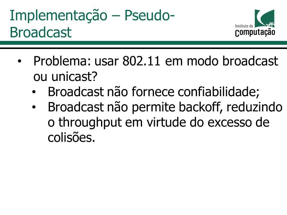 Problema: usar 802.11 em modo broadcast ou unicast.