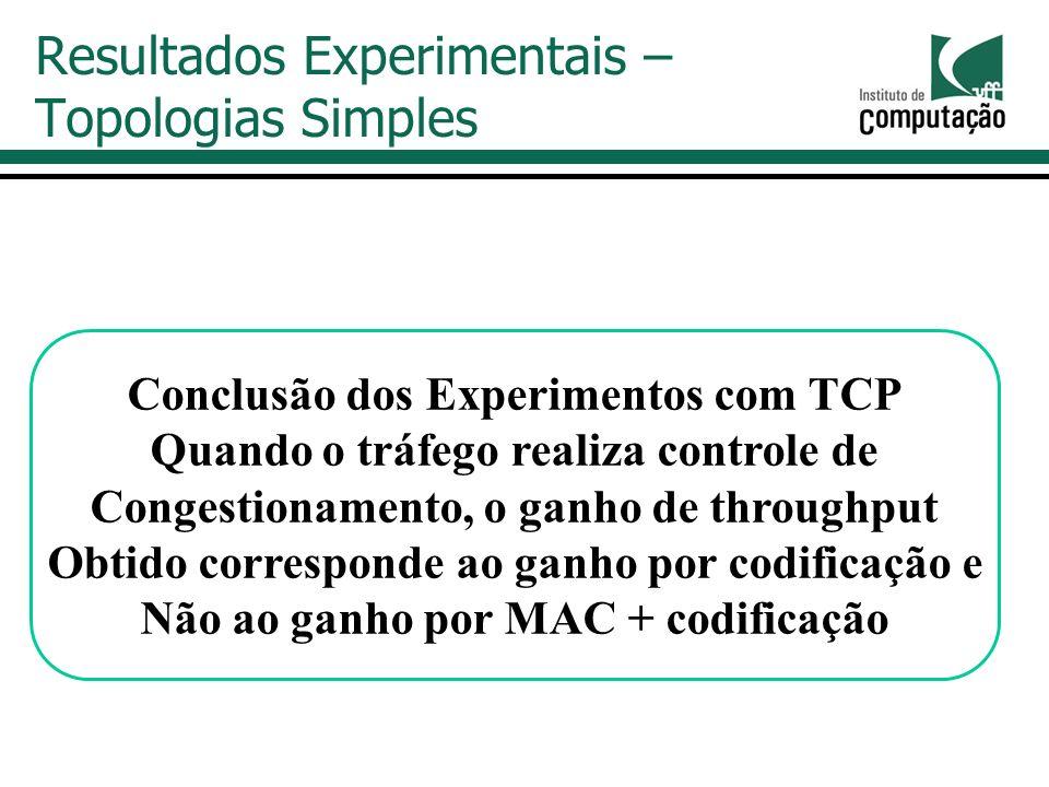 Resultados Experimentais – Topologias Simples Conclusão dos Experimentos com TCP Quando o tráfego realiza controle de Congestionamento, o ganho de throughput Obtido corresponde ao ganho por codificação e Não ao ganho por MAC + codificação