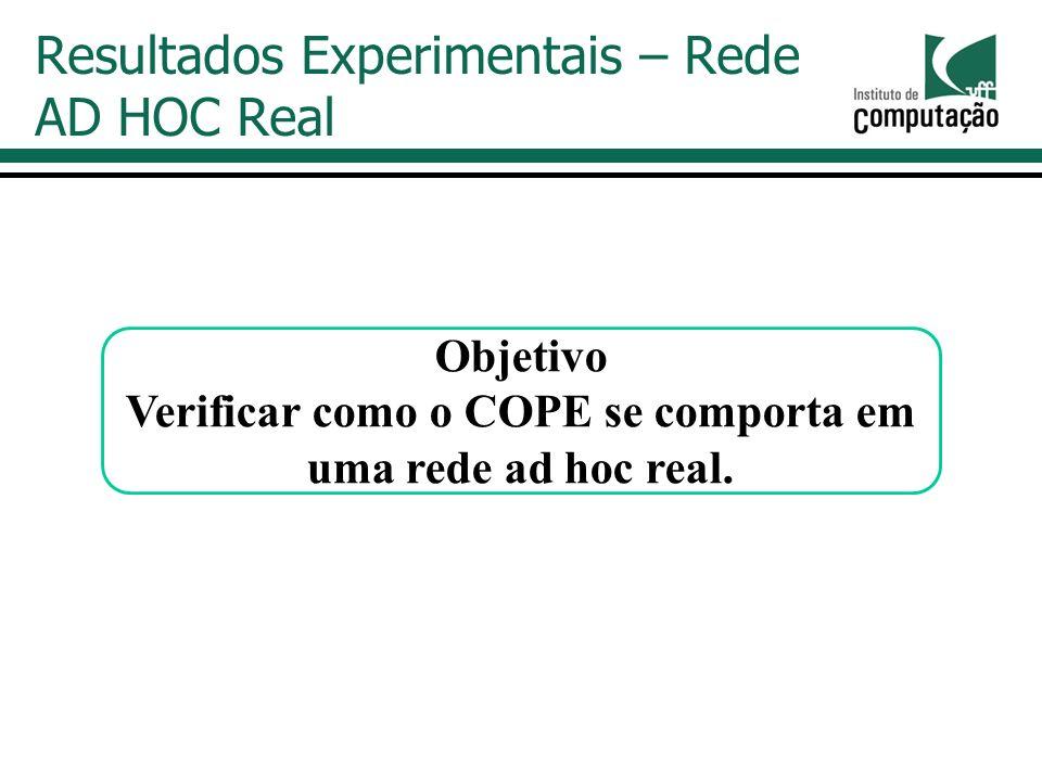 Resultados Experimentais – Rede AD HOC Real Objetivo Verificar como o COPE se comporta em uma rede ad hoc real.