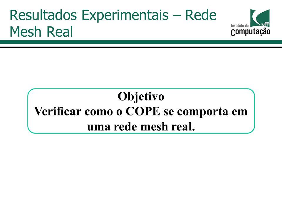 Resultados Experimentais – Rede Mesh Real Objetivo Verificar como o COPE se comporta em uma rede mesh real.