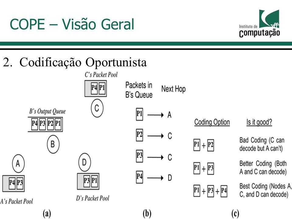 2.Codificação Oportunista COPE – Visão Geral Como combinar os pacotes de modo a obter O maior ganho possível