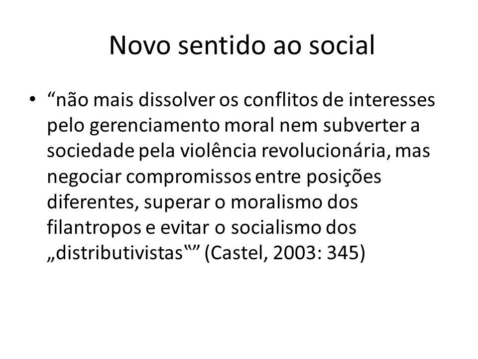 Novo sentido ao social não mais dissolver os conflitos de interesses pelo gerenciamento moral nem subverter a sociedade pela violência revolucionária, mas negociar compromissos entre posições diferentes, superar o moralismo dos filantropos e evitar o socialismo dos distributivistas (Castel, 2003: 345)