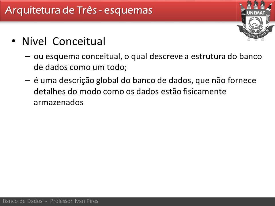 Nível Conceitual – ou esquema conceitual, o qual descreve a estrutura do banco de dados como um todo; – é uma descrição global do banco de dados, que