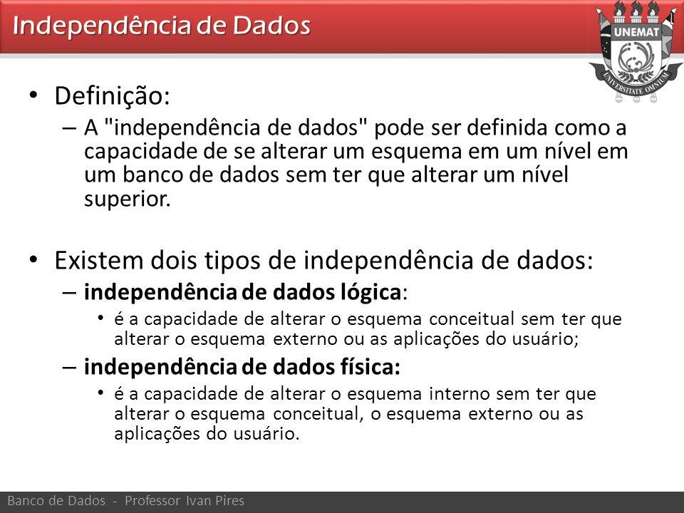 Definição: – A independência de dados pode ser definida como a capacidade de se alterar um esquema em um nível em um banco de dados sem ter que alterar um nível superior.