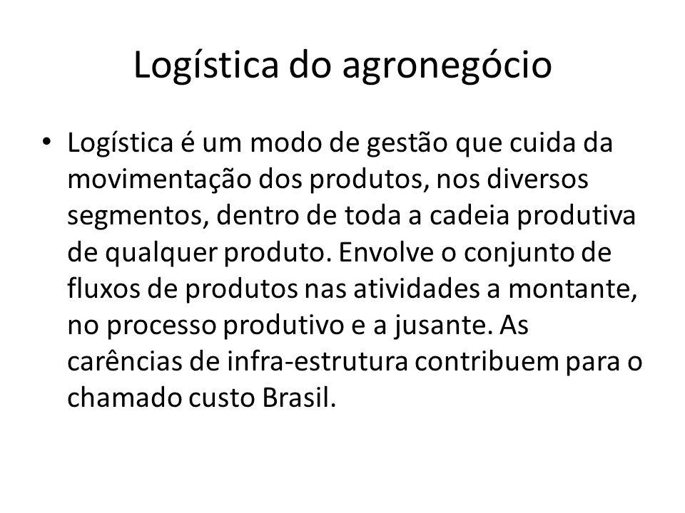 Logística do agronegócio Logística é um modo de gestão que cuida da movimentação dos produtos, nos diversos segmentos, dentro de toda a cadeia produti