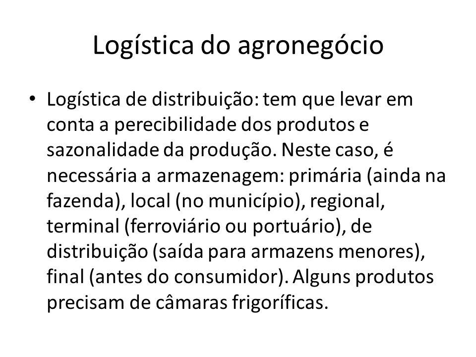 Logística do agronegócio Logística de distribuição: tem que levar em conta a perecibilidade dos produtos e sazonalidade da produção. Neste caso, é nec
