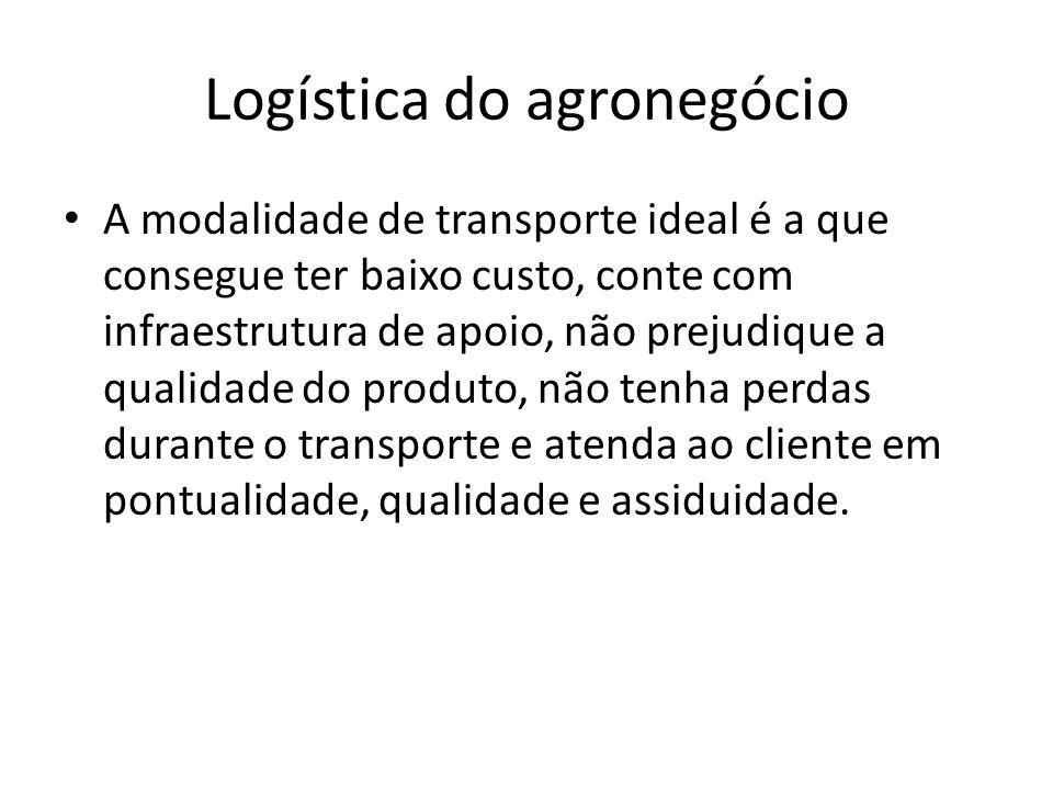 Logística do agronegócio A modalidade de transporte ideal é a que consegue ter baixo custo, conte com infraestrutura de apoio, não prejudique a qualid