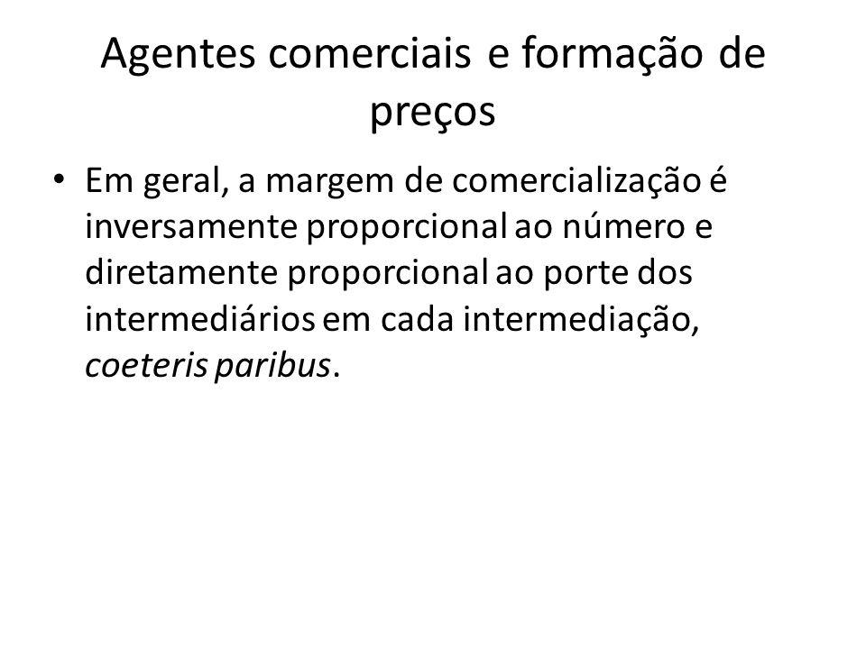 Agentes comerciais e formação de preços Em geral, a margem de comercialização é inversamente proporcional ao número e diretamente proporcional ao port