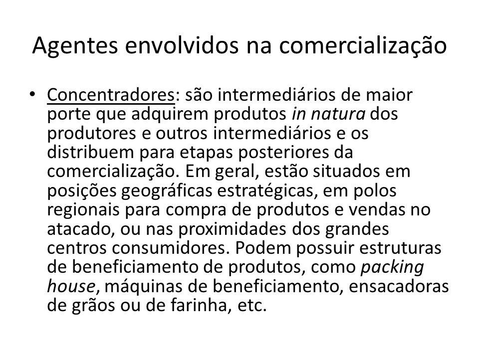 Agentes envolvidos na comercialização Concentradores: são intermediários de maior porte que adquirem produtos in natura dos produtores e outros interm