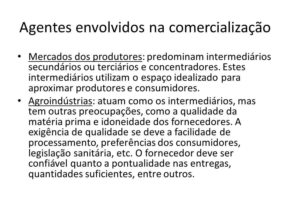 Agentes envolvidos na comercialização Mercados dos produtores: predominam intermediários secundários ou terciários e concentradores. Estes intermediár