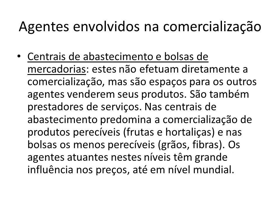Agentes envolvidos na comercialização Centrais de abastecimento e bolsas de mercadorias: estes não efetuam diretamente a comercialização, mas são espa