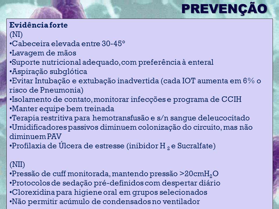 PREVENÇÃO Evidência forte (NI) Cabeceira elevada entre 30-45° Lavagem de mãos Suporte nutricional adequado, com preferência à enteral Aspiração subglótica Evitar Intubação e extubação inadvertida (cada IOT aumenta em 6% o risco de Pneumonia) Isolamento de contato, monitorar infecções e programa de CCIH Manter equipe bem treinada Terapia restritiva para hemotransfusão e s/n sangue deleucocitado Umidificadores passivos diminuem colonização do circuito, mas não diminuem PAV Profilaxia de Úlcera de estresse (inibidor H 2 e Sucralfate) (NII) Pressão de cuff monitorada, mantendo pressão >20cmH 2 O Protocolos de sedação pré-definidos com despertar diário Clorexidina para higiene oral em grupos selecionados Não permitir acúmulo de condensados no ventilador
