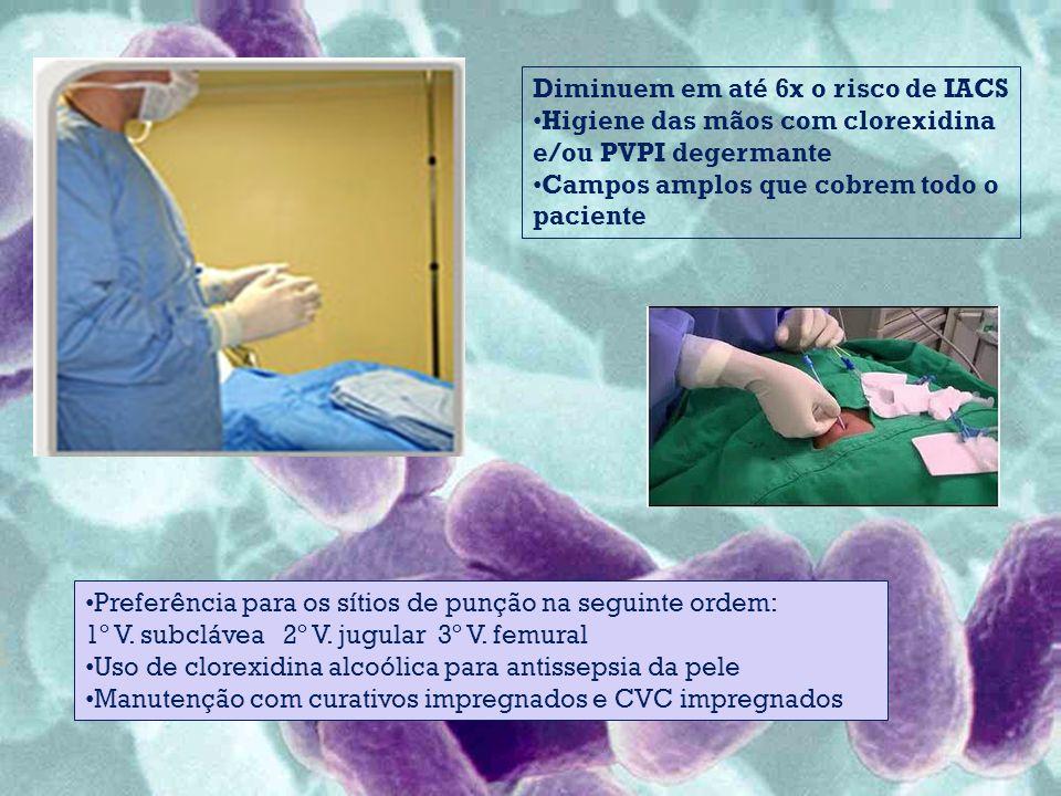 Diminuem em até 6x o risco de IACS Higiene das mãos com clorexidina e/ou PVPI degermante Campos amplos que cobrem todo o paciente Preferência para os sítios de punção na seguinte ordem: 1º V.